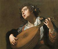 Woman Playing a Lute, gentileschi