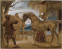 Arabian Stallion led by two Arabians to breed, gericault