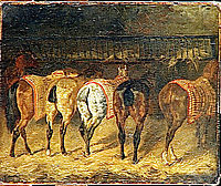 Five horses seen from behind with croupes in a stable, 1822, gericault