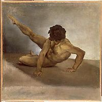Naked man reversed on the ground, gericault