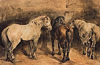 Three horses in their stable, gericault