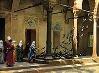 Harem Women Feeding Pigeons in a Courtyard, 18, gerome