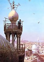 A Muezzin Calling from the Top of a Minaret the Faithful to Prayer, 1879, gerome