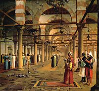 Public Prayer in the Mosque of Amr, Cairo, 1870, gerome