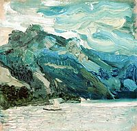 Lake Traunsee with the Schlafende Griechin mountain, 1907, gerstl