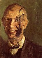 Fragment of a smiling self-portrait at full length, detail, c.1904, gerstl
