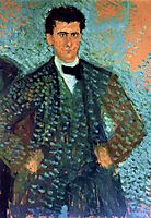 Self-portrait with Blue Spotted Background, 1907, gerstl