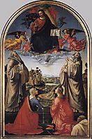 Christ in Glory with St. Benedict (c.480-547), St. Romuald (c.952-1027), St. Attinia, St. Grecinia and the donor, abbot Buonvicini, 1492, ghirlandaio