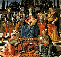 Madonna and Child Enthroned with Four Angels, the Archangels Michael and Raphael, and St. Gusto and St. Zenobius, 1485, ghirlandaio