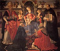 Madonna and Child enthroned with St. Dionysius, Aeropagita, Domenic, Clement and Thomas Aquinas, c.1486, ghirlandaio