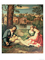 Youth with a guitar and two girls sitting on a river bank , giorgione