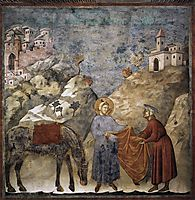 St. Francis Giving his Mantle to a Poor Man, 1299, giotto