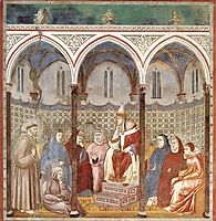 St. Francis Preaching a Sermon to Pope Honorius III, 1299, giotto