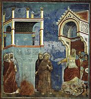 The Trial by Fire, St. Francis offers to walk through fire, to convert the Sultan of Egypt, 1297, giotto