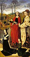 The Portinari Altarpiece, St. Mary Magdalen and St. Margaret with Maria Baroncelli and Daughter Margherita Portinari, Right Wing , c.1479, goes