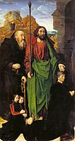 The Portinari Altarpiece, St. Thomas and St. Anthony the Hermit with Tommaso Portinari and two sons Antonio and Pigello, Left Wing , 1478, goes