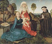 Virgin and Child With St. Anne and a Franciscan donor, c.1475, goes
