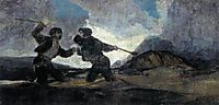 Duel with sticks, 1820-23, goya