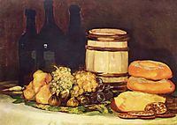 Still life with fruit, bottles, breads, 1826, goya