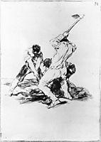 Three Men Digging, 1819, goya