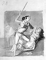 Woman battered with a cane, c.1797, goya