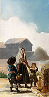 A woman and two children by a fountain, 1786, goya