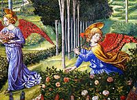 Angel Gathering Flowers in a Heavenly Landscape (detail), c.1460, gozzoli