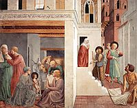 Birth of St. Francis, Prophecy of the Birth by a Pilgrim, Homage of the Simple Man, 1452, gozzoli