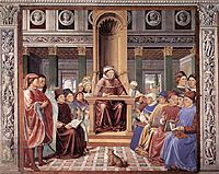 St. Augustine Reading Rhetoric and Philosophy at the School of Rome, 1465, gozzoli