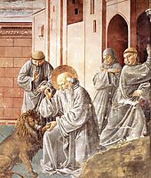 St. Jerome Pulling a Thorn from a Lion-s Paw, 1452, gozzoli