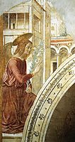Tabernacle of the Visitation: Annunciation: the Archangel Gabriel, 1491, gozzoli