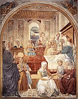 Tabernacle of the Visitation: Birth of Mary, 1491, gozzoli