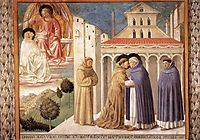 Vision of St. Dominic and Meeting of St. Francis and St. Dominic, 1452, gozzoli
