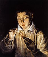 A boy blowing on an ember to light a candle, c.1570, greco