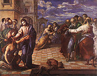 Christ healing the blind man, 1560, greco