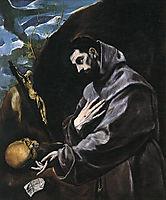 St Francis Praying, 1580-1590, greco