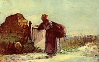 French peasant woman with a bag on her back, grigorescu