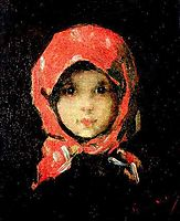 The Little Girl with Red Headscarf, grigorescu