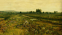 An Extensive Meadow Landscape with Geese by a Stream, grimshaw