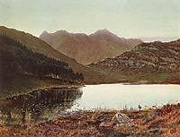 Blea tarn at first light, Langdale pikes in the distance, 1865, grimshaw