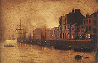 Evening, Whitby Harbour, 1893, grimshaw