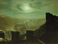 Full Moon behind Cirrus Cloud from the Roundhay Park Castle Battlements, 1872, grimshaw