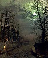 A Lane In Headingley, Leeds, 1881, grimshaw