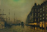 Liverpool Quay by Moonlight, grimshaw