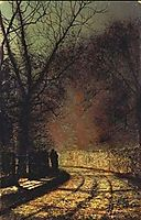 Lovers in a wood, 1873, grimshaw