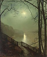 Moonlight on the lake Roundhay Park Leeds, grimshaw