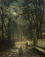 A moonlit lane, 1874, grimshaw