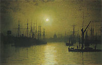 Nightfall on the Thames, 1880, grimshaw