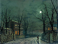 The Old Hall Under Moonlight, grimshaw