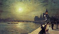 Reflections on the Thames, Westminster, 1880, grimshaw